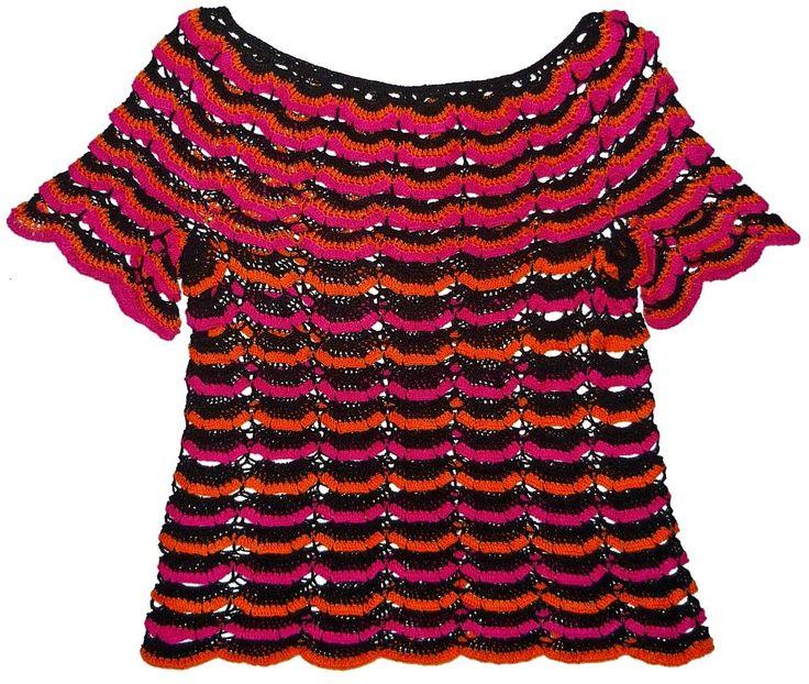 Blusa tejida a crochet en hilos Textil Amazonas en colores negro, fucsia y anaranjado, talla M