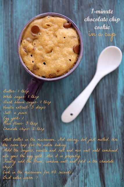 One Minute Cookie-In-A-Mug! This blogger says she hates microwaves but loved this one minute cookie! I've got to try this!