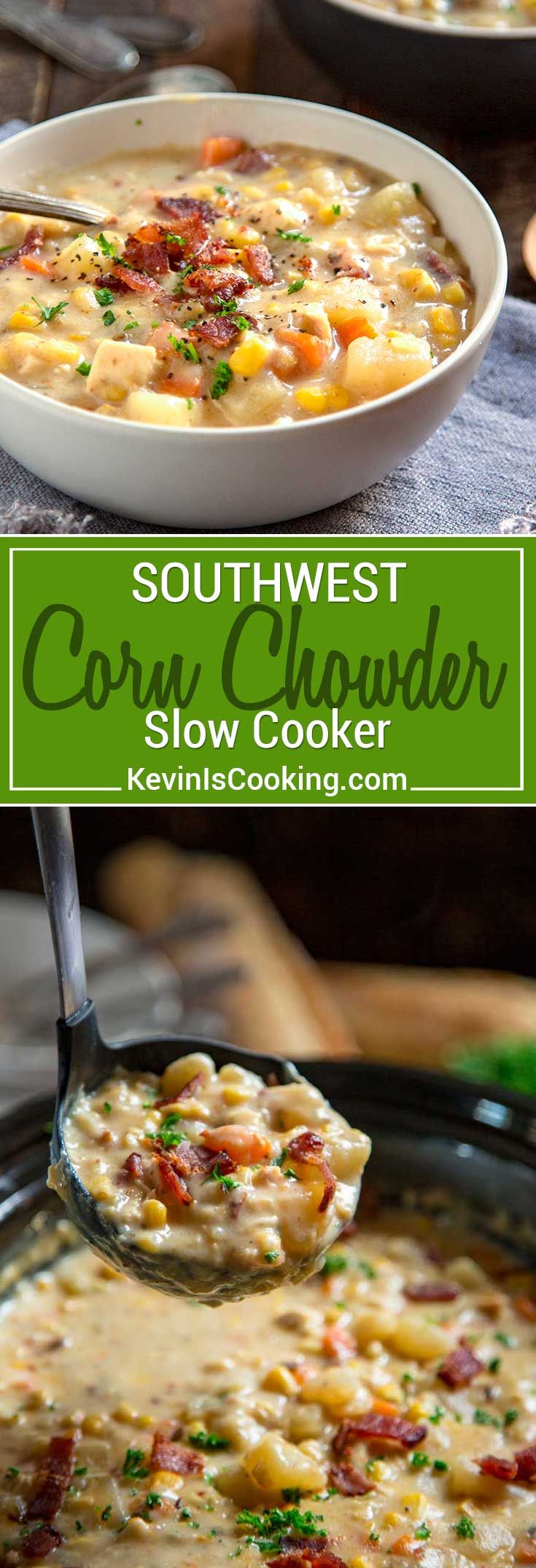 Thick and creamy with chunks of potatoes, corn and carrots, this Southwest Slow Cooker Corn Chowder gets a kick from the chipotle pepper and uses no cream! #corn #chowder #slowcooker via @keviniscooking