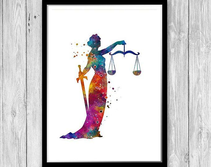 Lawyer Gift For Women Themis Lady Justice Watercolor Print Law Office Wall Art