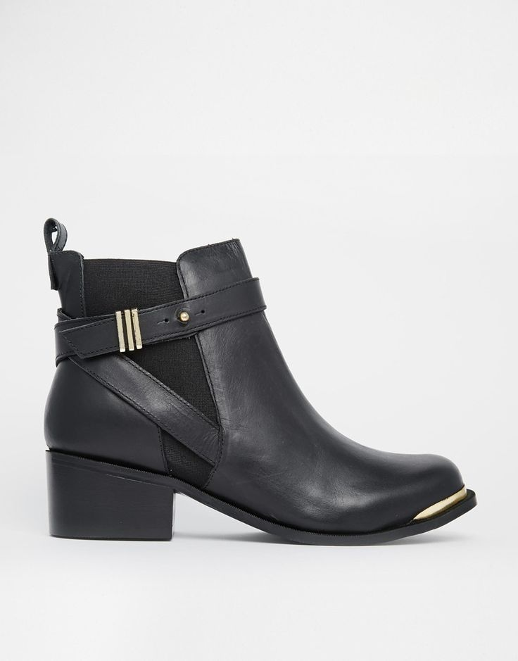 Carvela Tomas Black Leather Chelsea Boots with Metal Trims