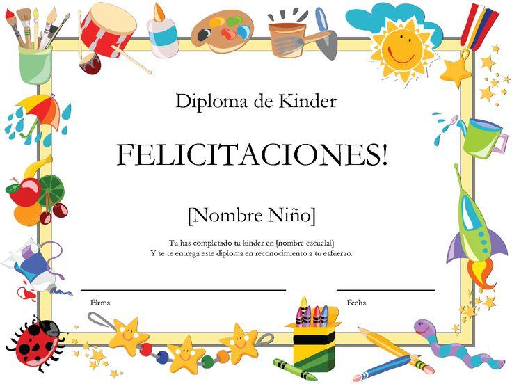 Las 25 mejores ideas sobre diplomas para imprimir en for Asistenciero para jardin de infantes