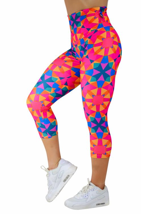 Body Contouring High Waisted Capri Leggings - Chasing Rainbows Made to measure Capris now available at www.exoticahtletica.com.au