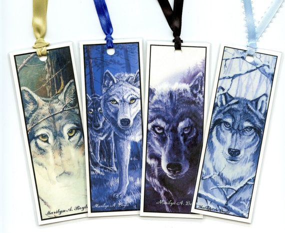 BOOKMARKS  SET of FOUR wolves faces 5 inches by OriginalSandMore