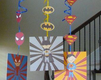 Super Hero decorations INSTANT DOWNLOAD by TresChicPartyDesigns