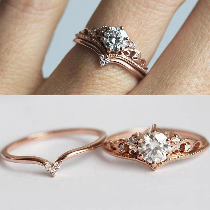 Wedding & engagement ring #simplerings #engagementrings #moissaniterings