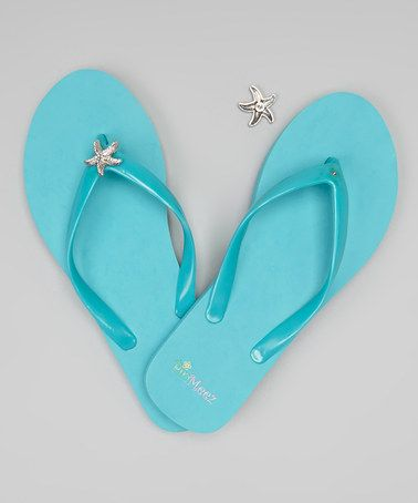 Another great find on #zulily! Blue Flip-Flop & Starfish Charm Set #zulilyfinds  I want these!!!!