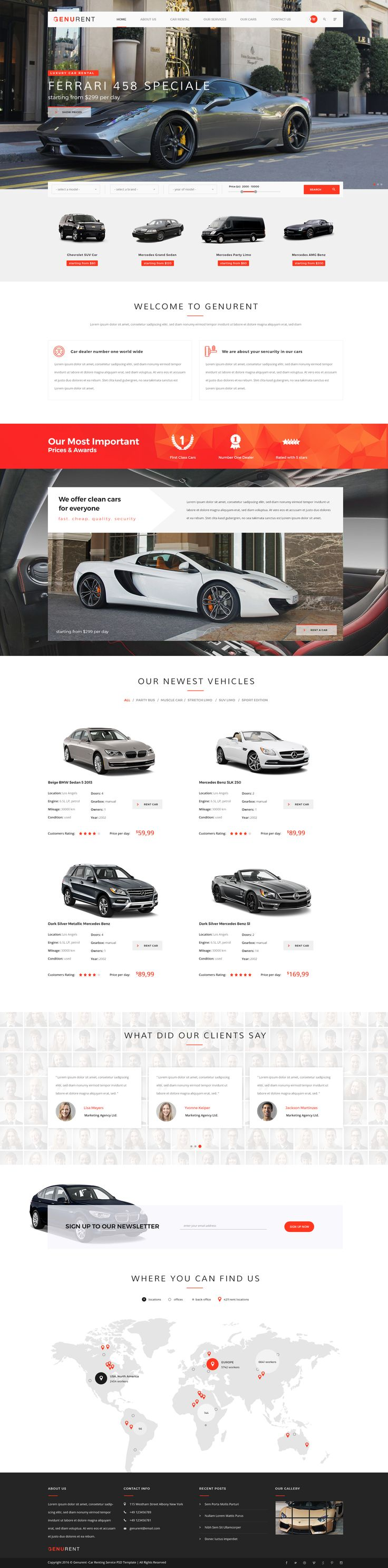 Genurent car rental service psd template auto sitecar