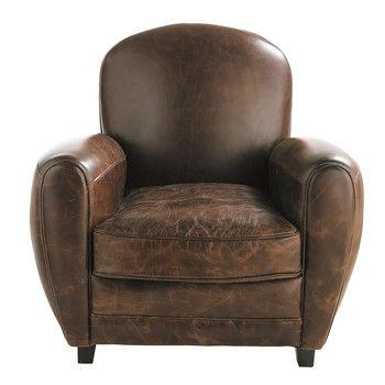 Fauteuil club en cuir marron - Oxford