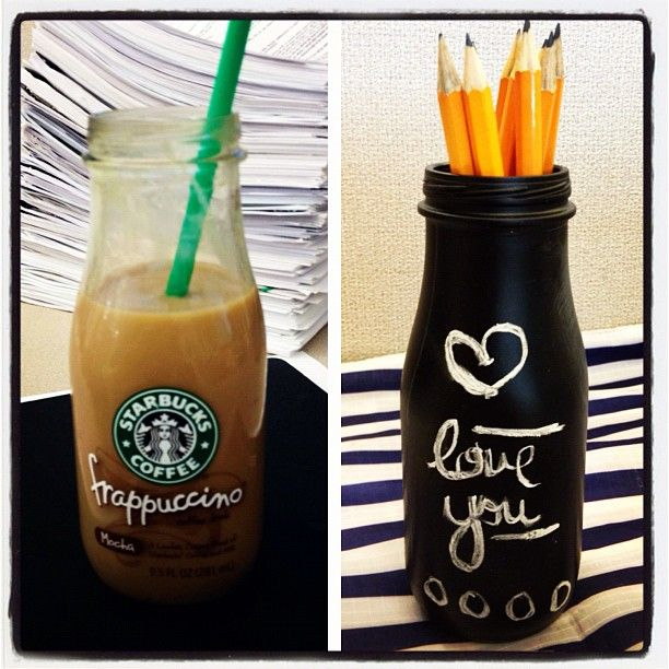 Spray a frappuccino bottle with chalkboard paint! Love it!
