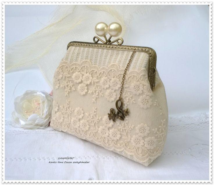 Vintage esküvő. csipke táska
