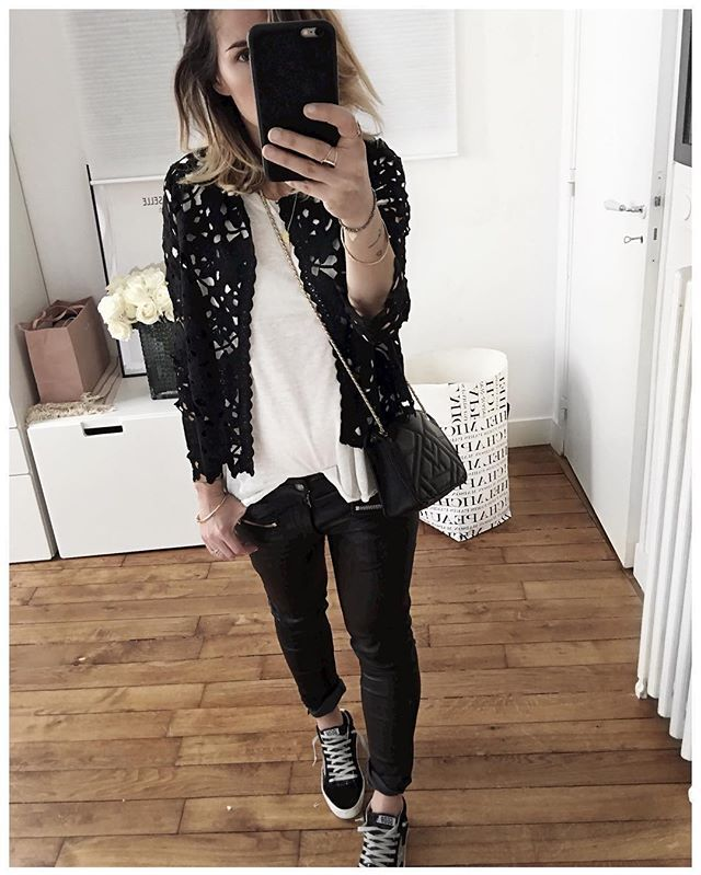 ⚫️⚪️ • Lace Cardigan #belair (from @belairparis) • T-shirt #aninebing (from…