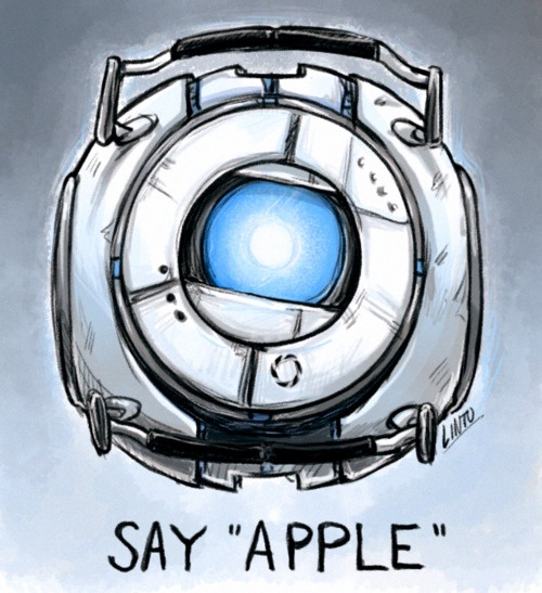 """Wheatley- """"Say apple. Well, what you did there was.. um, jumping. You just jumped."""""""