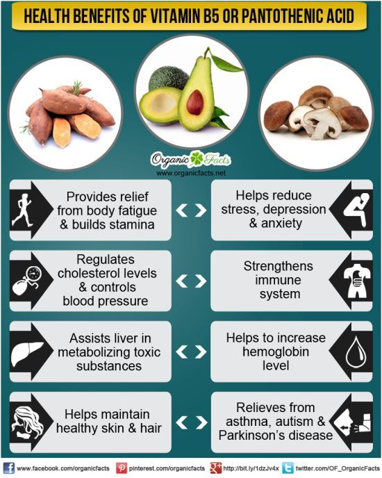 Health Benefits of Vitamin B5 or Pantothenic Acid: The health benefits of Vitamin B5, also known as Pantothenic Acid, include the alleviation of conditions like asthma, hair loss, allergies, stress and anxiety, respiratory disorders and heart problems. It also helps to boost immunity, reduce osteoarthritis and signs of aging, increase resistance to various types of infections, stimulate physical growth, and manage diabetes and skin disorders.