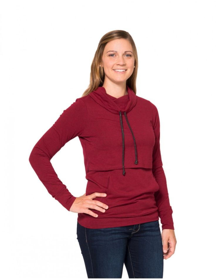 Cowl-neck Nursing Top in Heather Red. It the treasure of your nursing clothes.