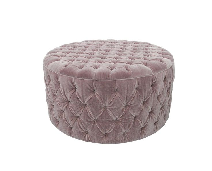 A lovely round pouffe in mohair dusk fabric from the designers at Tetrad International, Thailand.