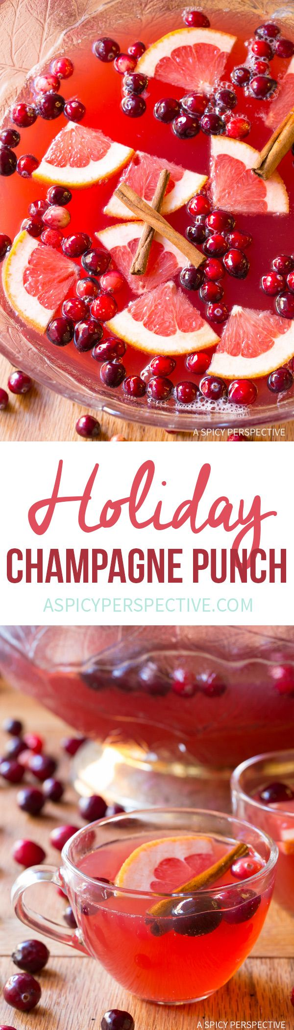 Sparkling Holiday Champagne Punch Recipe on ASpicyPerspective.com #newyearseve #christmas via @spicyperspectiv