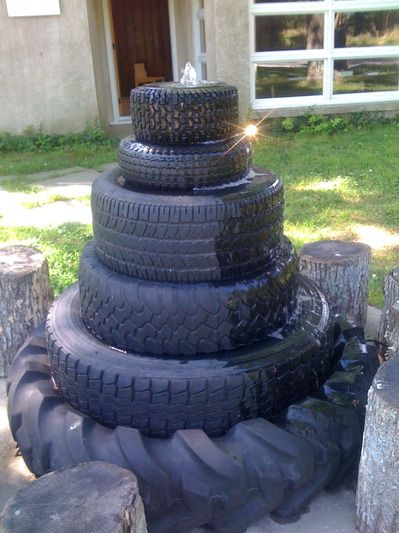 Tire fountain! Great outdoor component for a man cave!