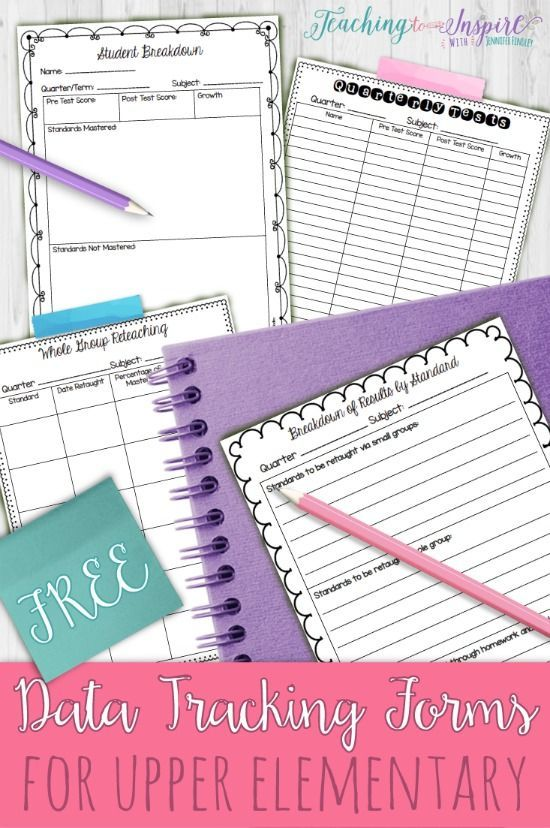 FREE data tracking forms to use with benchmark, quarterly, or unit assessments.