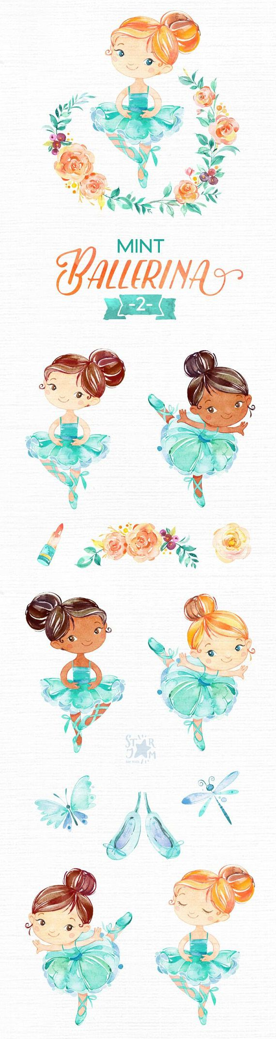 This Mint Ballerina 2 watercolor set is just what you needed for the perfect invitations, craft projects, paper products, party decorations, printable, greetings cards, posters, stationery, scrapbooking, stickers, t-shirts, baby clothes, web designs and much more.  :::::: DETAILS