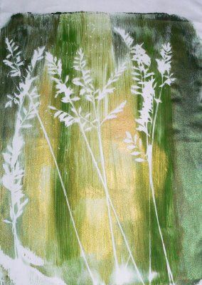 Living and Dyeing Under the Big Sky: Gelatin Plate Prints - Grass and Goldfinches