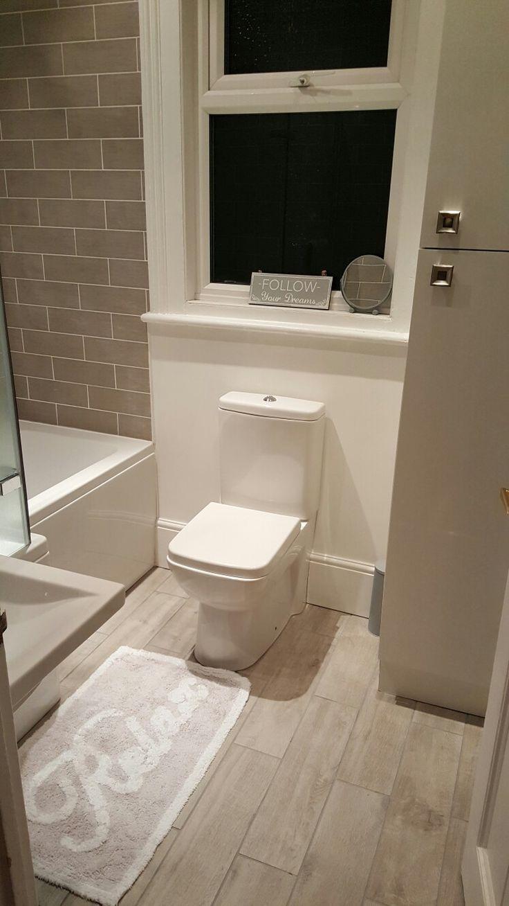 Georgian flat renovation grey modern bathroom metro tile