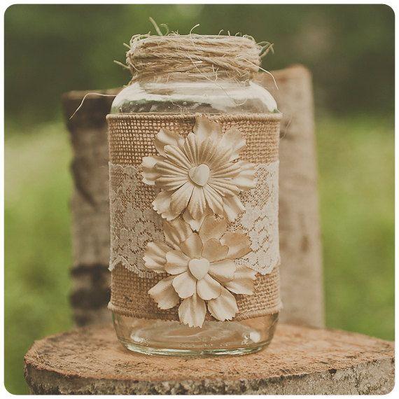 Lace and burlap wedding centerpiece. Lace and burlap wedding. Vintage ivory lace. Rustic wedding, barn wedding. Mason jar. on Etsy, $14.00