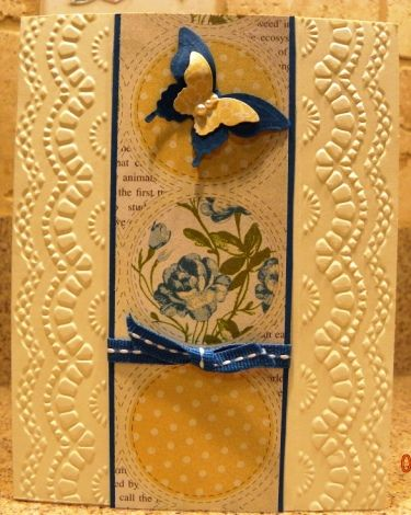 Using Stampin' Up! Delicate Designs embossing folder.