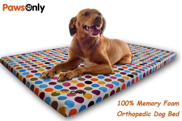Large Polka Dot Comfort Memory Foam Dog Bed