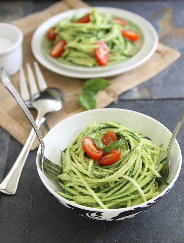 Zucchini pasta with avocado cream sauce makes a perfect side dish or light meal for summer. Add some grilled shrimp or chicken for a heartier meal.