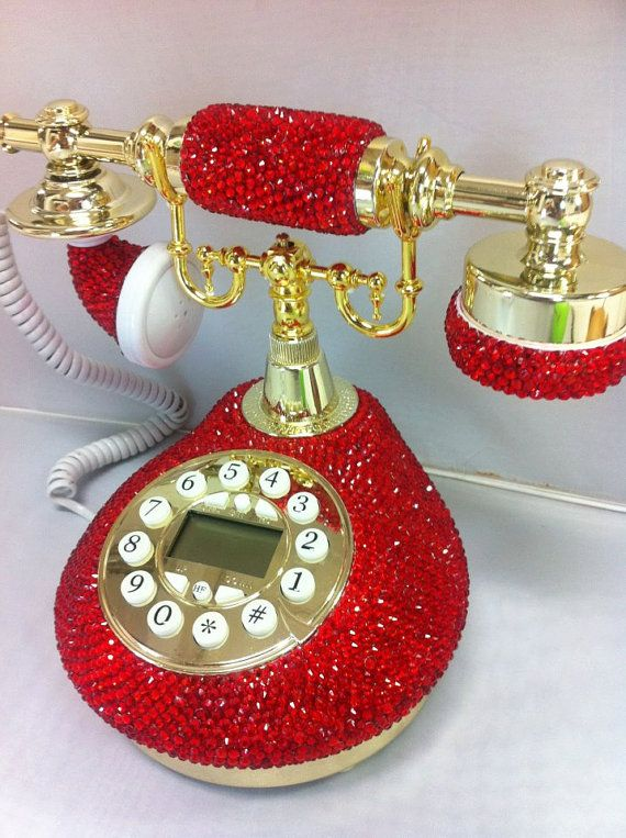 Bling Classic Vintage RED telephone handmade w/ by Crystaljam, $299.99