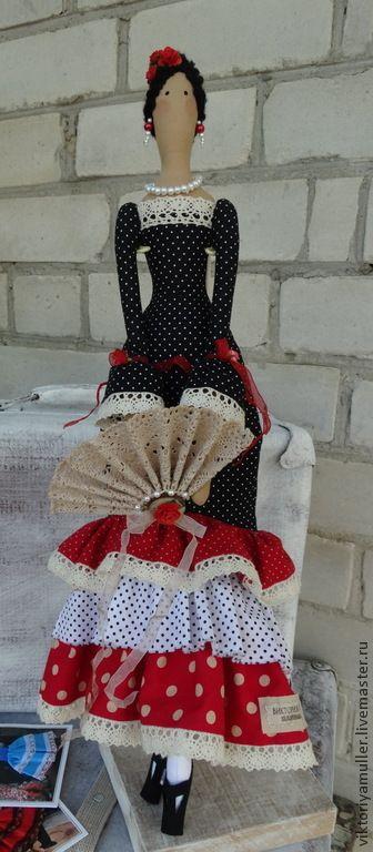 Купить кукла тильда ручной работы ФЛАМЕНКО - чёрно-белый, красный, кукла Тильда