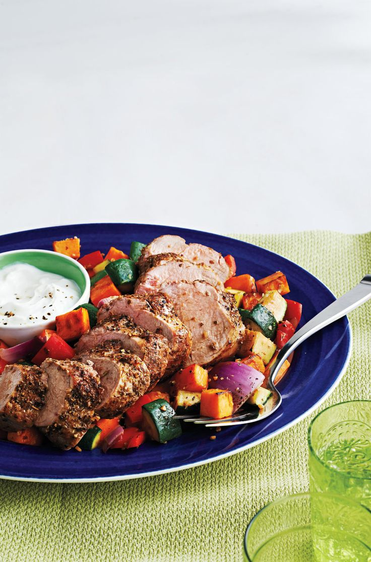 Souvlaki-Style Pork Tenderloin With Mixed Vegetables - Canadian Living's 25 most popular recipes of all time