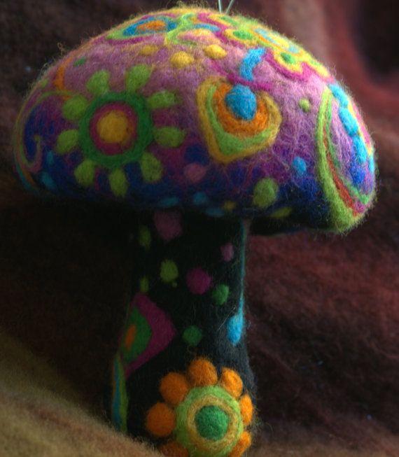 Hippie needle felted summer flower mushroom by Petradi on Etsy