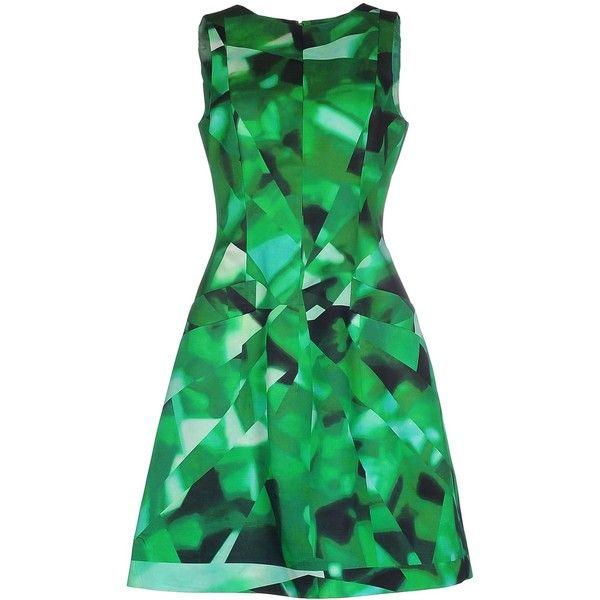 Oscar De La Renta Knee-length Dress ($1,485) ❤ liked on Polyvore featuring dresses, green, green cocktail dress, green knee length dress, swing dress, knee length cocktail dresses and zipper dress
