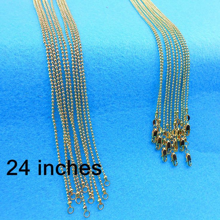 "24"" GOLD FILLED New Free Shipping 5PCS Making  Jewelry Section Ball Bead Prayer Chains With Lobster Clasps For Pendant #Affiliate"