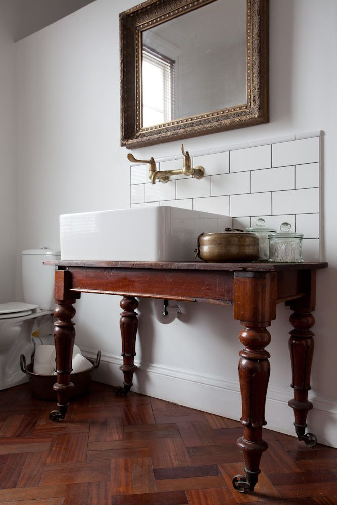Counter top basin on old table