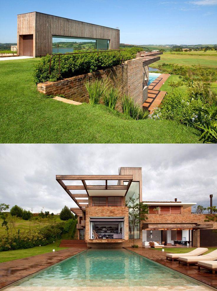 Modern home built into hillside container homes pinterest for Modern homes on hillsides