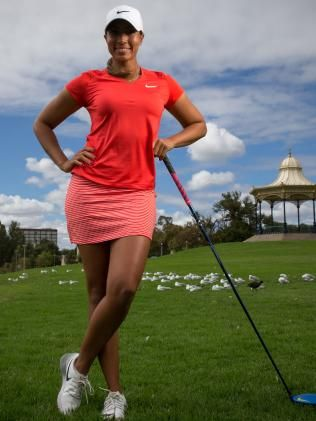Golfer Cheyenne Woods, Tiger Woods' niece, is in Adelaide for the Women's Australian Open. Picture: Matt Turner.