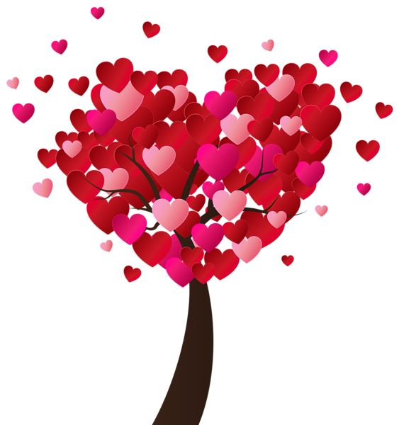 Valentines Day Heart Tree PNG Clip Art Image