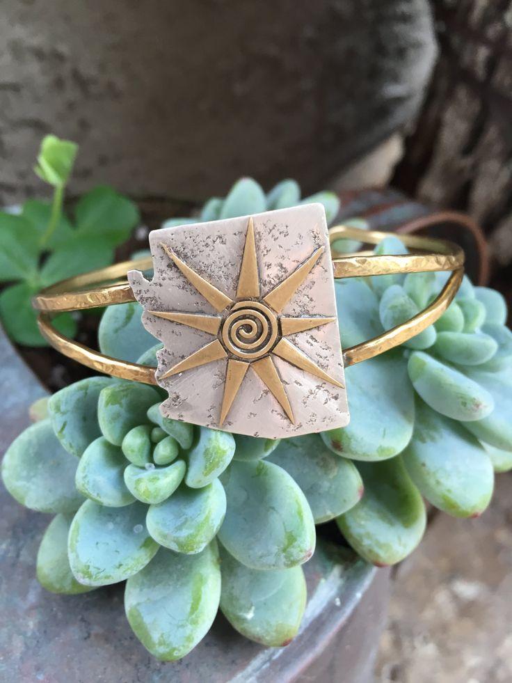 arizona sun state love brass sterling silver brass wire bracelet jewelry mixed media metalsmith southwestern jewelry state art by MySistersArt on Etsy