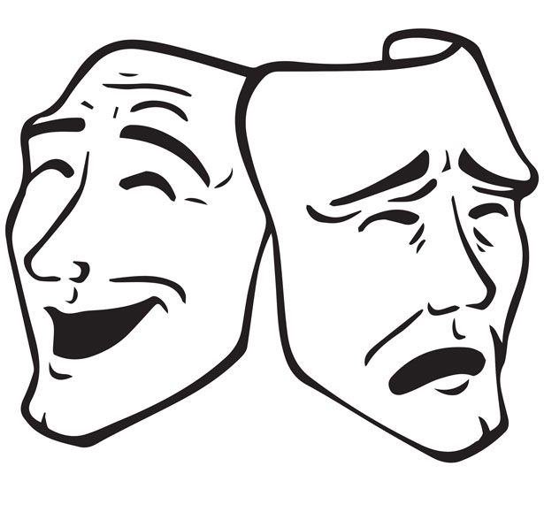 13++ Theater masks clipart black and white info