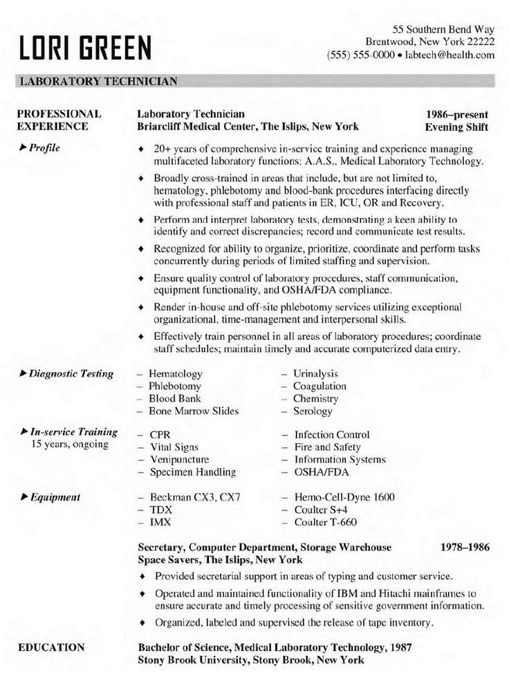 Laboratory Technician Resume Sample Amp Template Midlevel