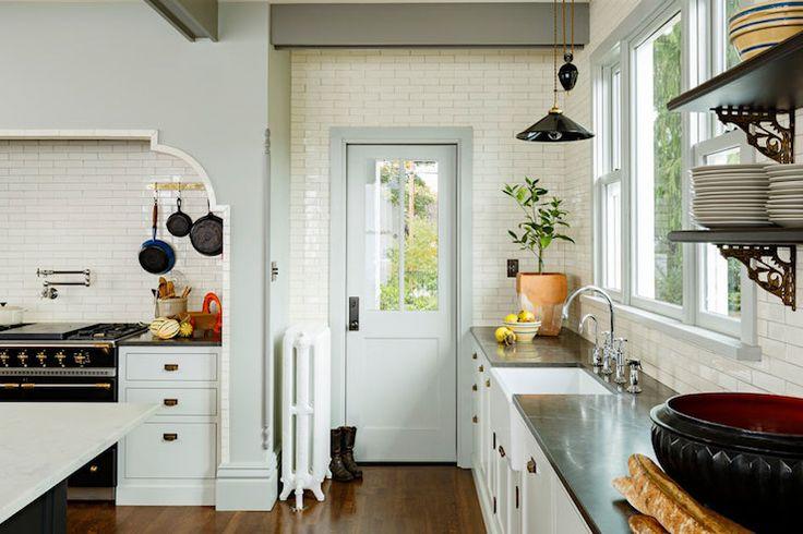 Jessica Helgerson Interior Design - kitchens - gray walls, gray wall color, gray trim, pot filler, swing arm pot filler, pot filler faucet, ...