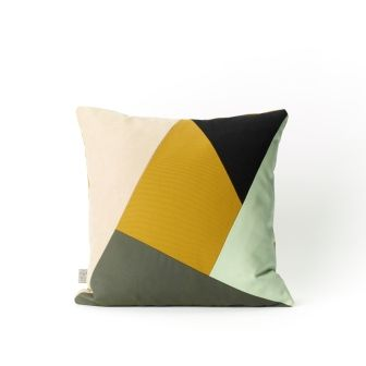 Samur Cushion, grey,black, nut, mint, nutmeg