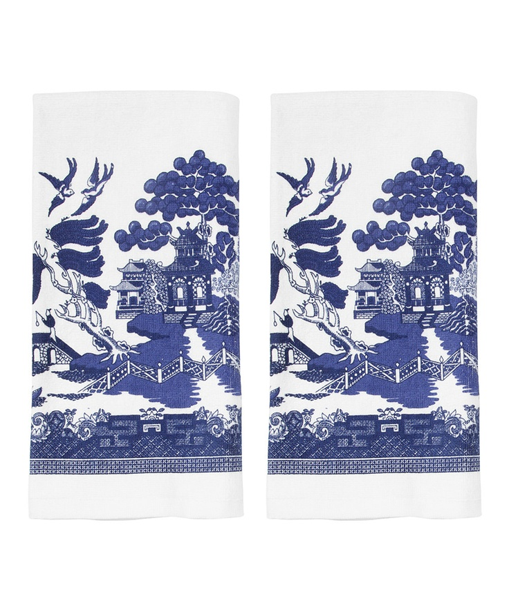 Blue Willow Terry Dish Towel - Set Of Two