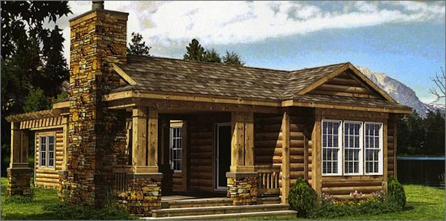 Mobile Home Design - Champion Escape Series Log Cabin Mobile Home - Would love to see this on my home when I purchase it - love the look. Take this same styling and use boarded siding to look like a Craftsman style home