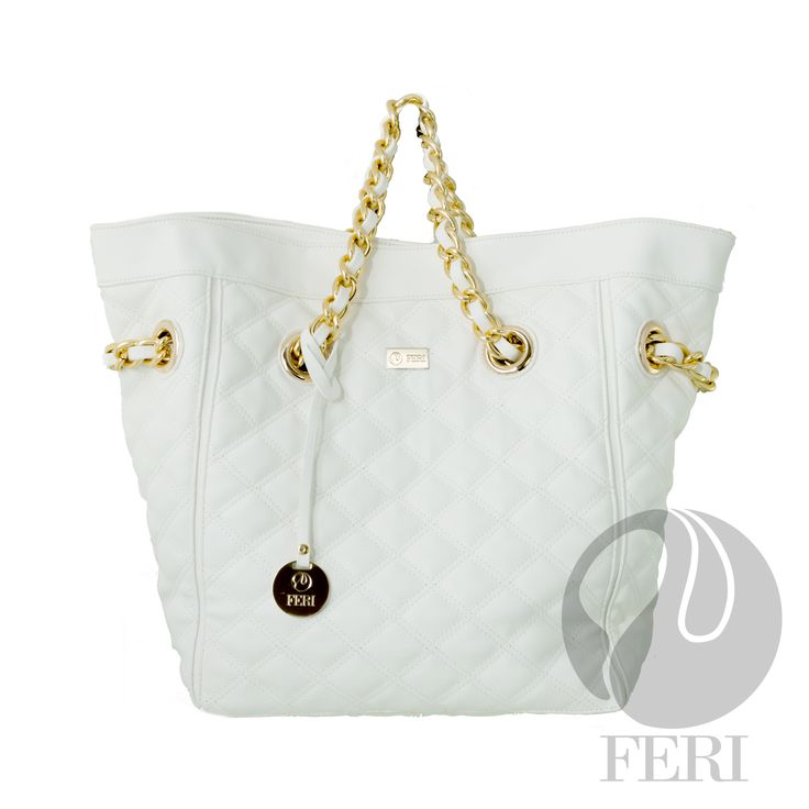 "FERI Day2Day - Daya - Purse - White - Oversized POLYURETHANE purse with quilted top stitching - Gold toned chain (not recommended for hot climates) and PU leather handles - Magnetic snap closure with small zipper - Metal feet on bottom of bag to protect - Custom FERI lining with zippered pouch and cellphone pockets - Dimension: 13.86"" x 15.75"" x 7.87""   www.gwtcorp.com/ghem or email fashionforghem.com for big discount"
