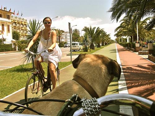 Forte dei Marmi, Italy.  We rode our bikes EVERYWHERE!!  Even Ian...