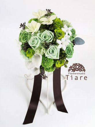 プリザーブドフラワーのウェディングブーケ 花工房Tiare(Flowerstudio Tiare)  スタイリッシュ*グリーングラデーションのラウンドブーケ
